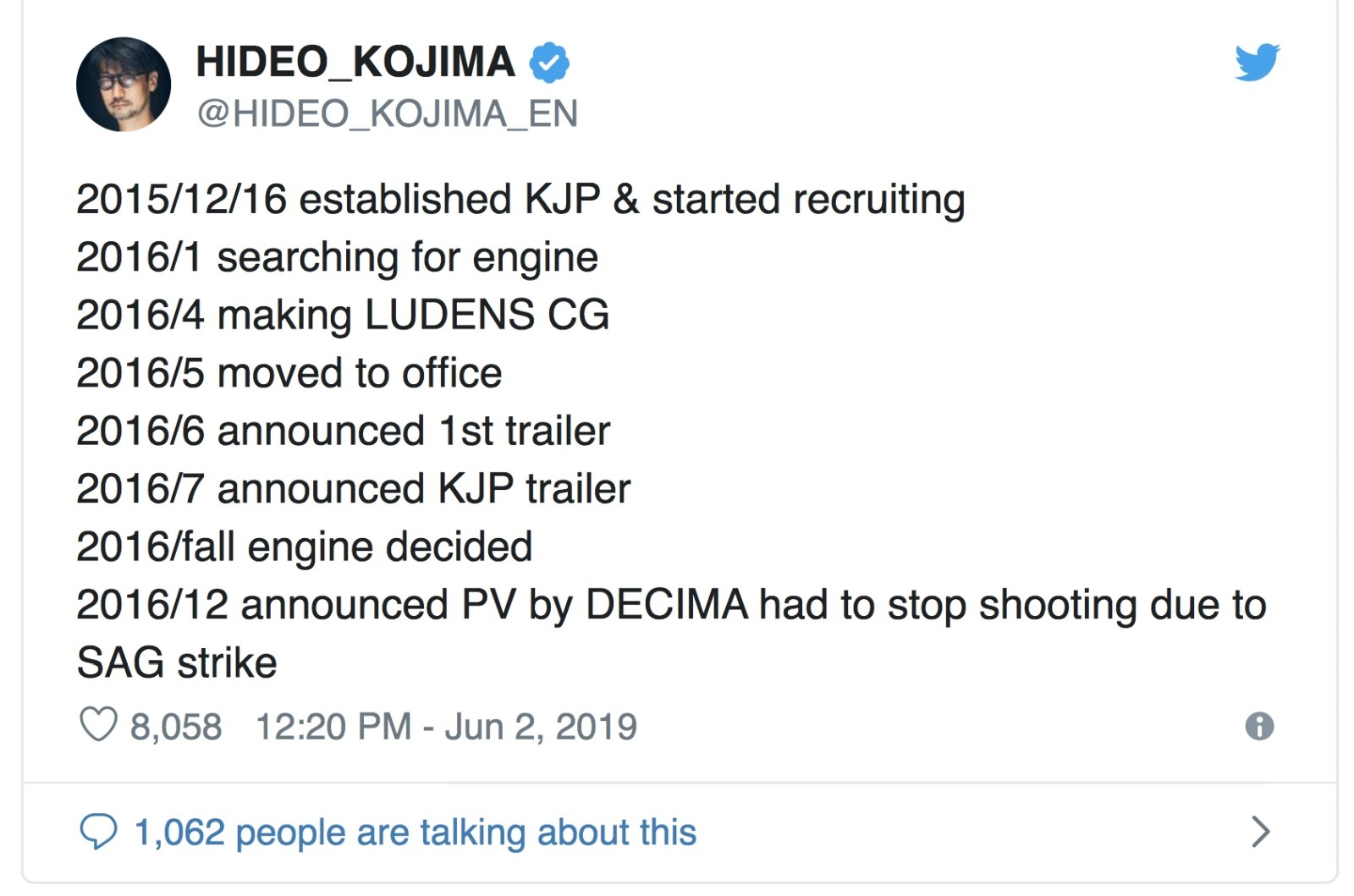 Death Stranding; screenshot: Kojima tweet