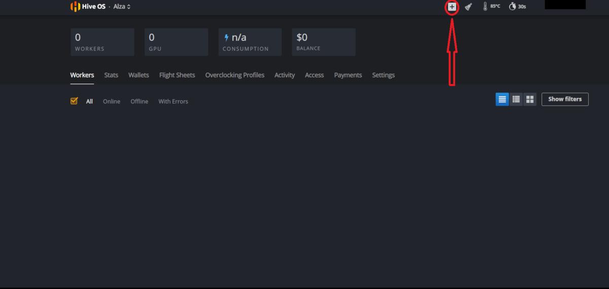 HiveOS; návod; webové rozhraní