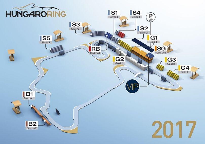 Plánek tribun u okruhu Hungaroring