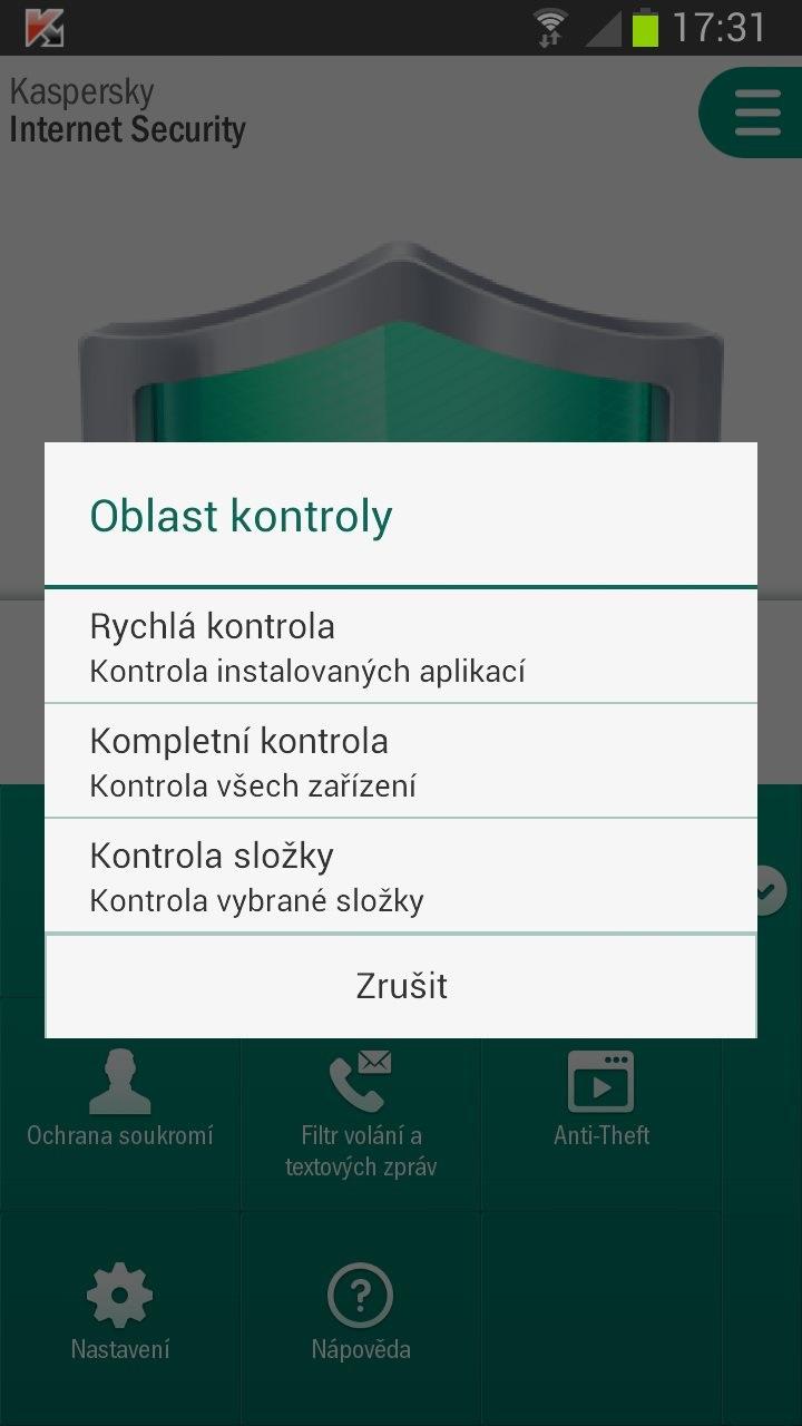 kaspersky internet security pro android, aplikace