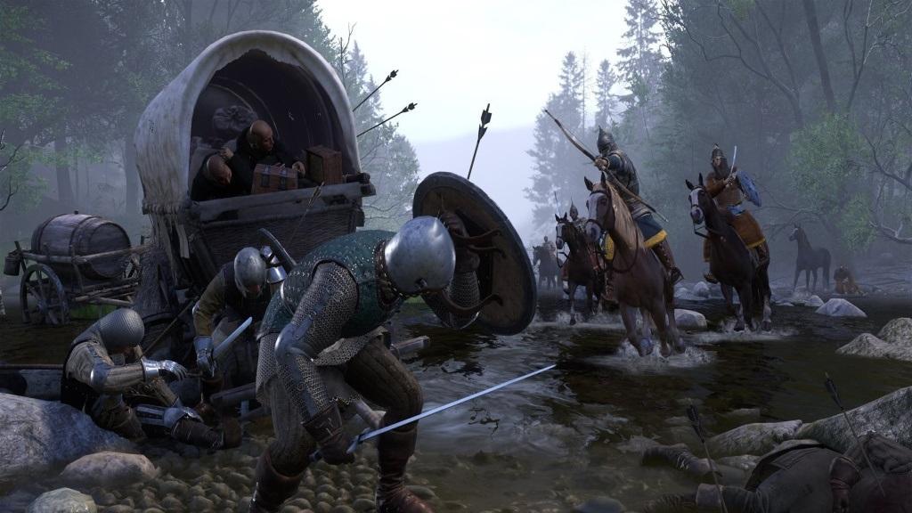 Nejlepší hry; Kingdom Come: Deliverance; Wallpaper: souboj, kůň, přepadení