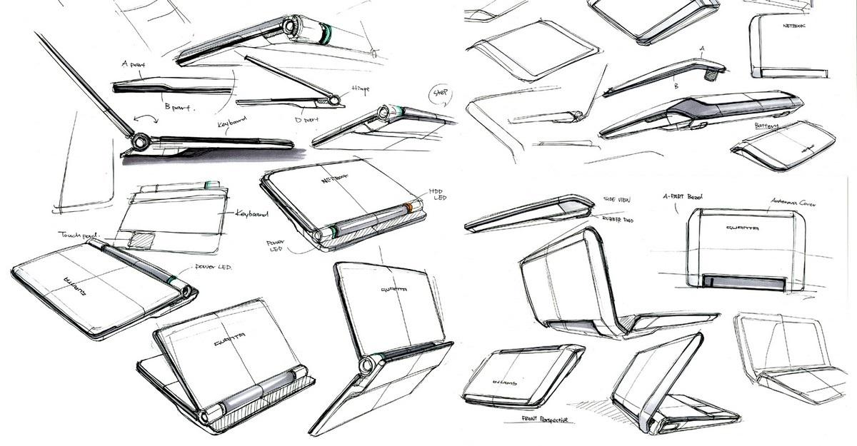 Cesta notebooku - náčrt notebooku