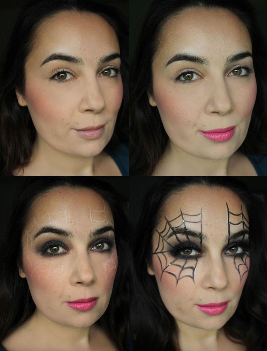 Líčení na Halloween v podobě pavučiny na obličeji
