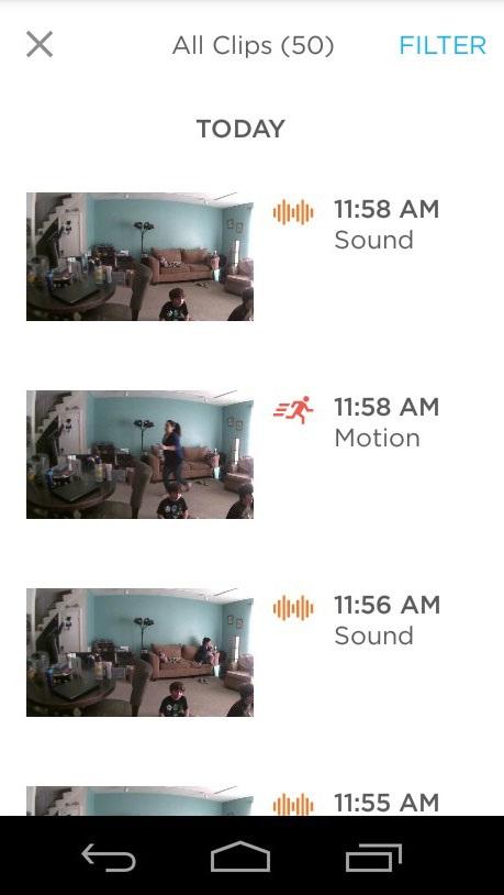 Záběry a notifikace