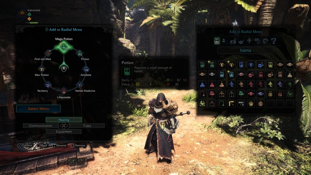 Monster Hunter: World; Gameplay: vlastní nastavení radial menu
