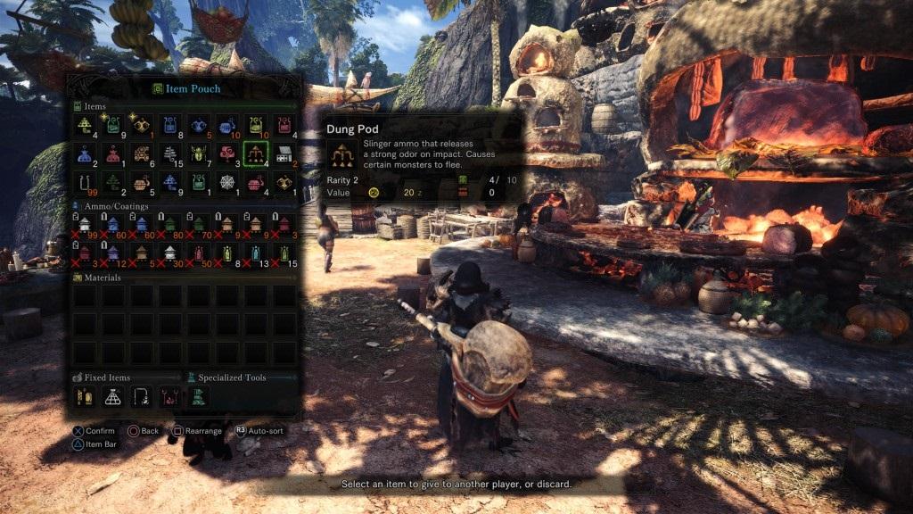 Monster Hunter: World; Gameplay: dung pod
