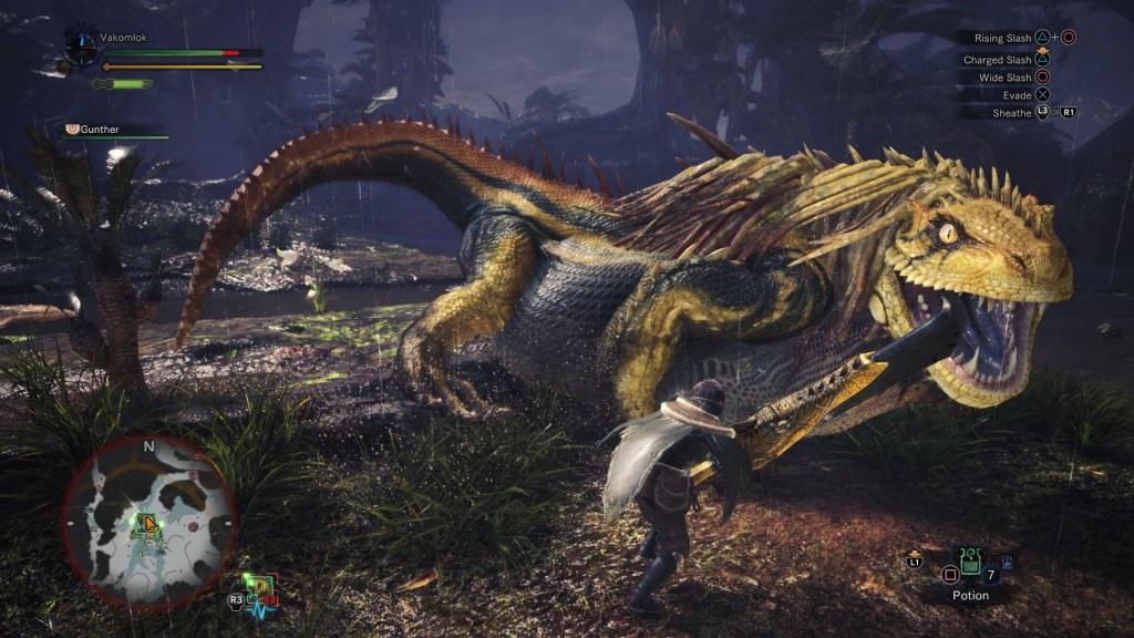 Monster Hunter: World; Gameplay: great Jagras