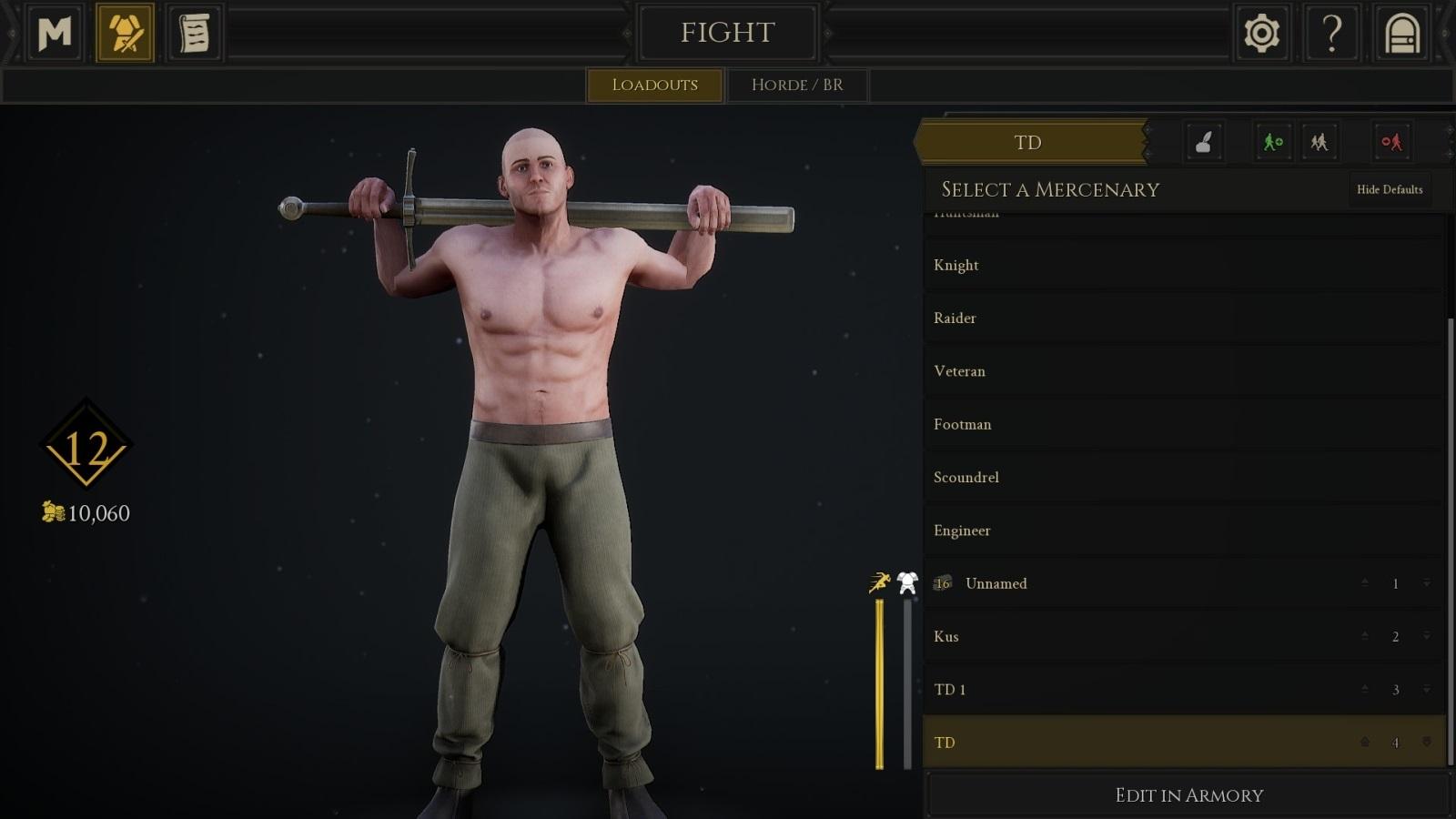 Mordhau; gameplay: naháč