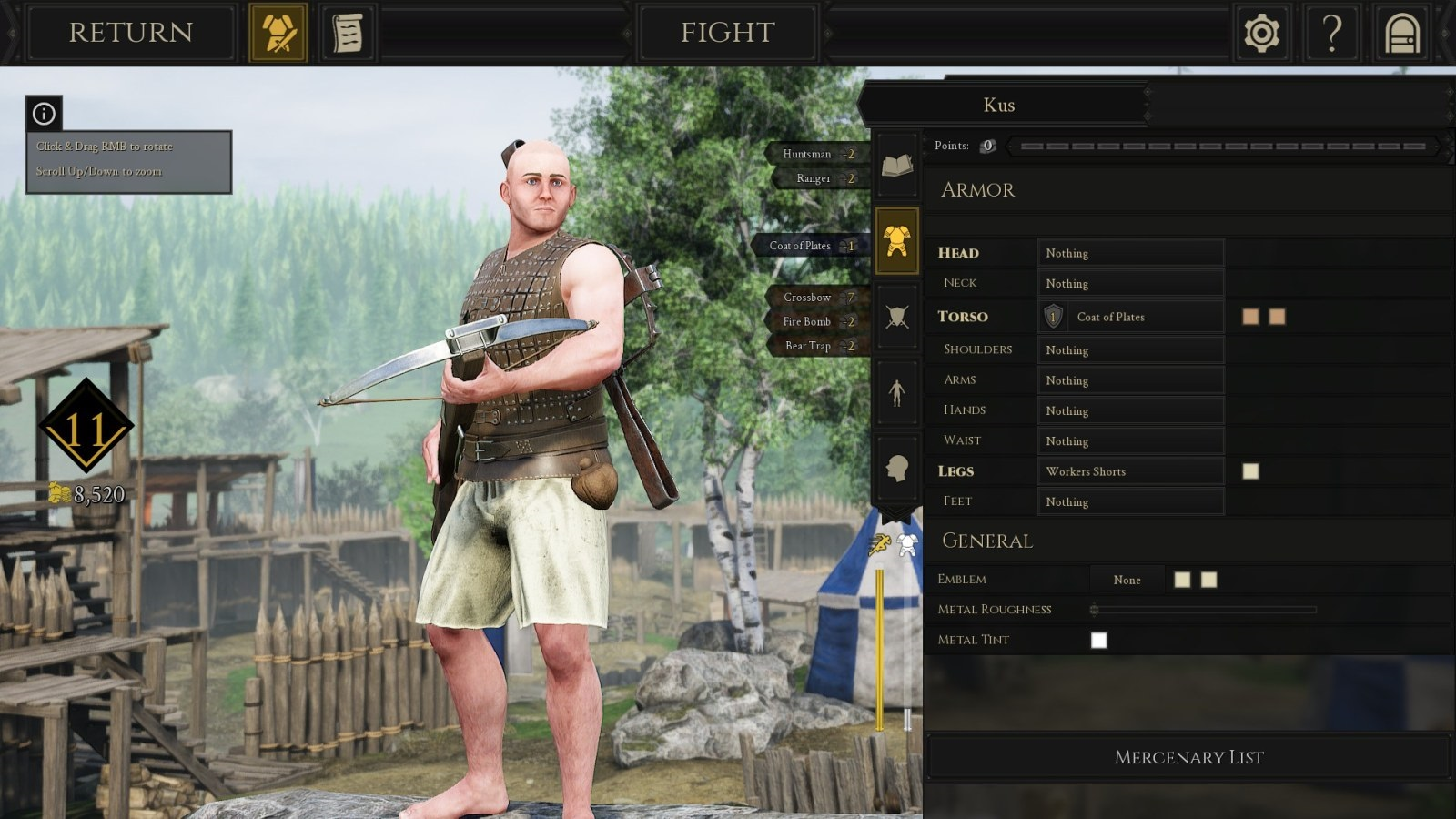 Mordhau; gameplay: vlastní postava
