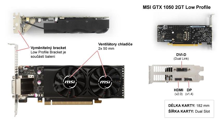 MSI GTX 1050 2GT LP popis