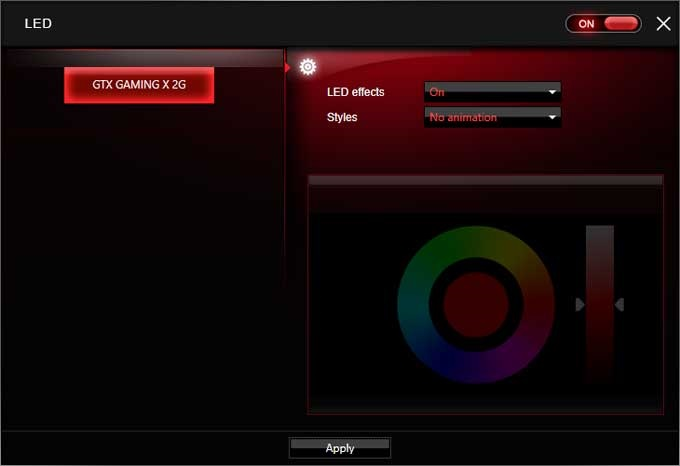 MSI GTX 1050 Gaming X 2G Gaimg APP RGB LED