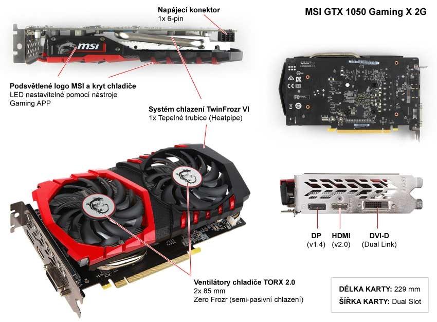 MSI GTX 1050 Gaming X 2G popis