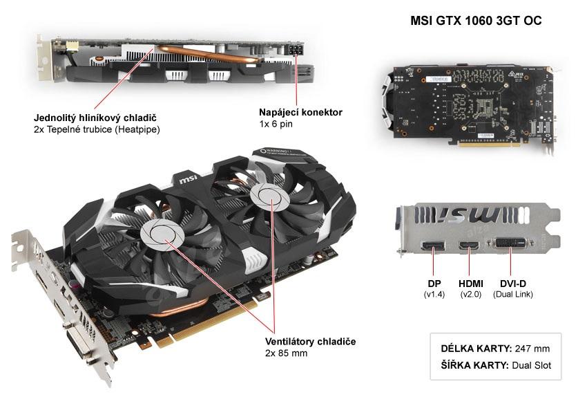 MSI GTX 1060 3GT OC popis