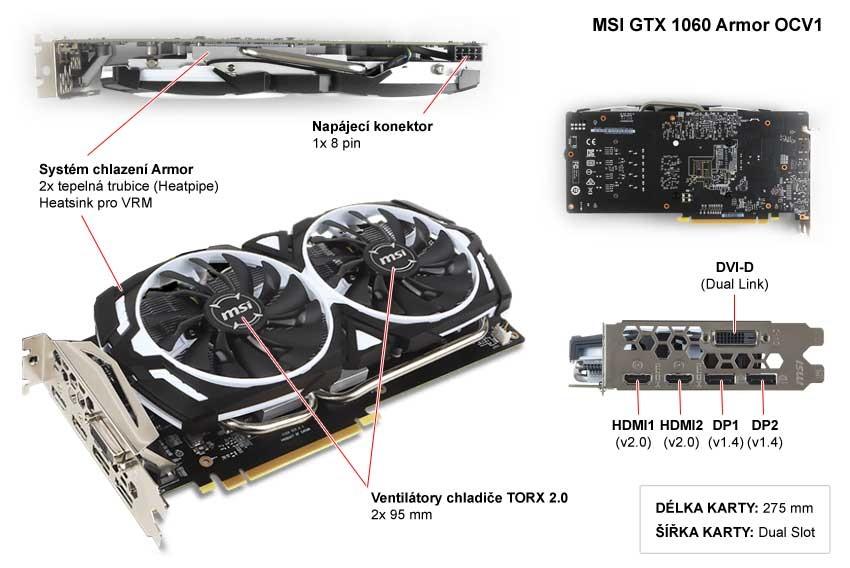 MSI GTX 1060 Armor 6G OCV1 popis