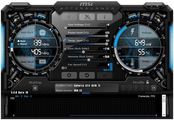 MSI GTX 1070 Ti Gaming 8G; MSI Afterburner