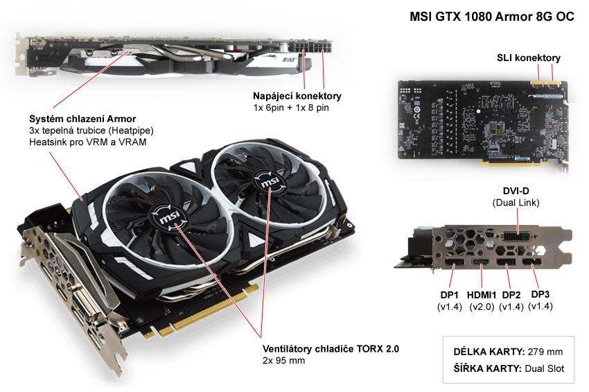 MSI GTX 1080 Armor 8G OC popis