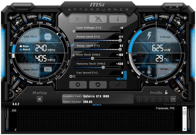 MSI GTX 1080 Sea Hawk EK X Afterburner přetaktování