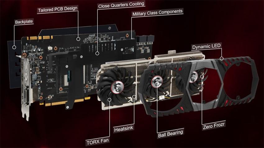 MSI GTX 1080 Ti Gaming X TRIO systém chlazení