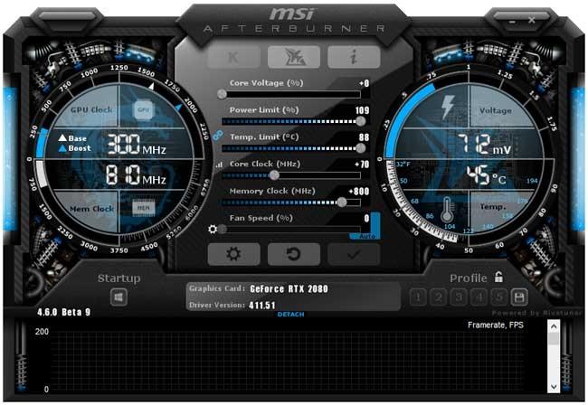 Přetaktování MSI RTX 2080 Gaming X TRIO; Afterburner