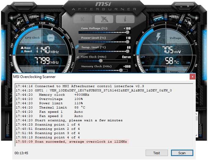 Přetaktování MSI RTX 2080 Ti Gaming X TRIO; Afterburner