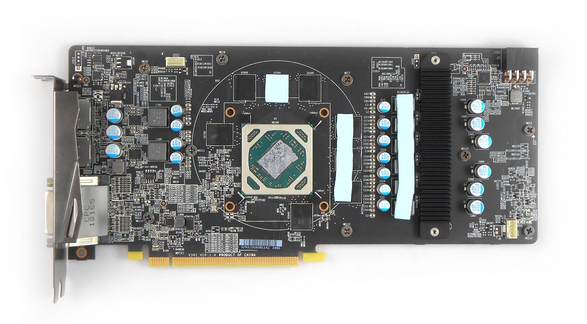MSI RX 570 Mech 2 8G OC; plošný spoj