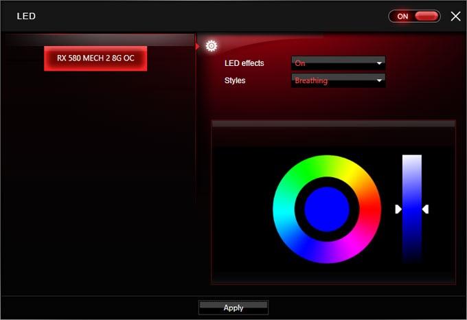 MSI RX 580 Mech 2 8G OC Gaimg APP RGB LED