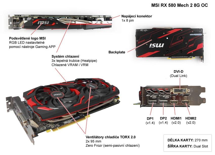 MSI RX 580 Mech 2 8G OC popis