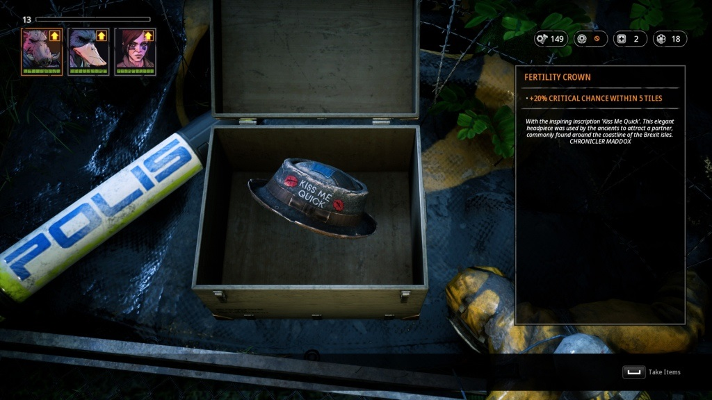 Mutant Year Zero: Road to Eden; screenshot: předměty
