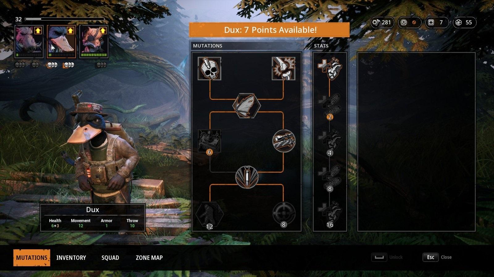 Mutant Year Zero: Road to Eden; gameplay: vývojový strom