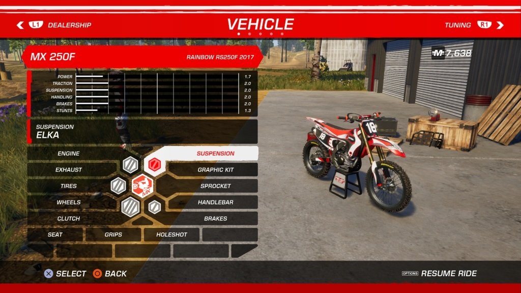 MX vs ATV: All Out; Gameplay: tuning
