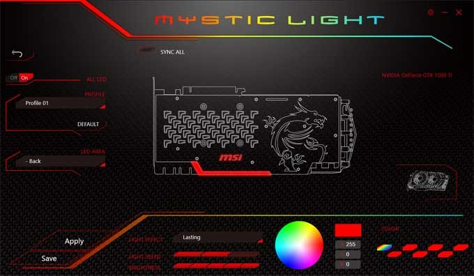 MSI GTX 1080 Ti Gaming X TRIO Mystic Light RGB LED