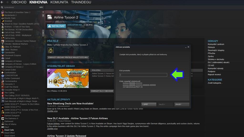 Návod na uplatnění elektronických licencí, Steam