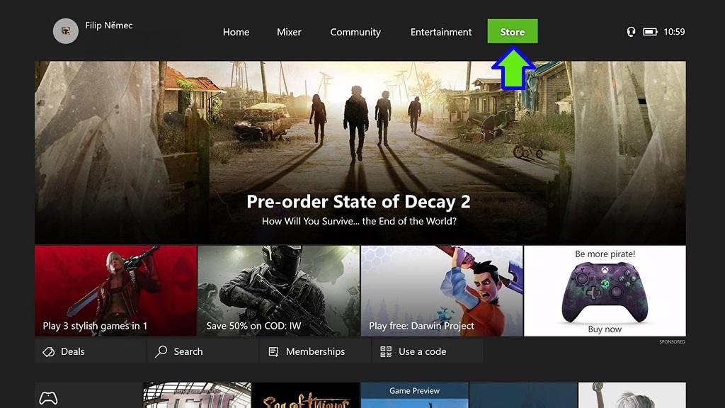 Návod na uplatnění elektronických licencí, Xbox Store