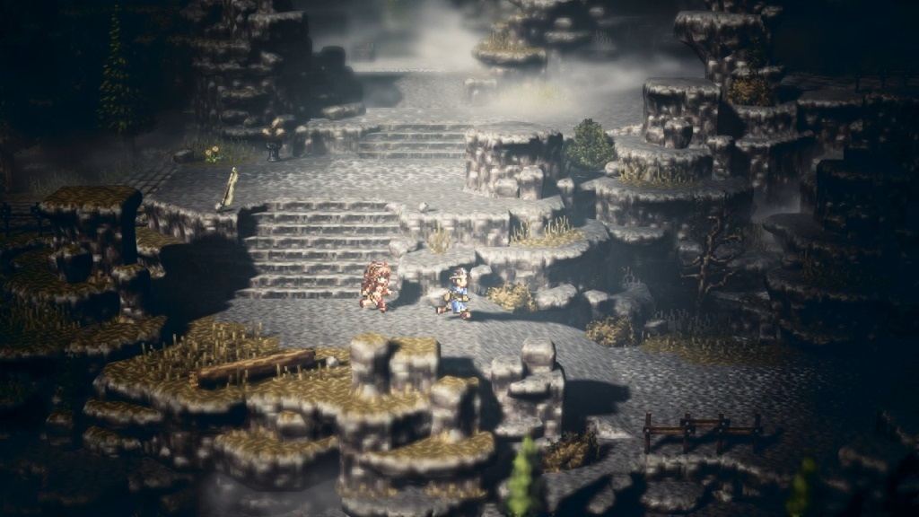 Nejlepší hry; Octopath Traveler; screenshot: krajina
