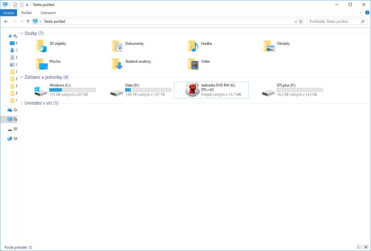 Odemknutý USB disk.