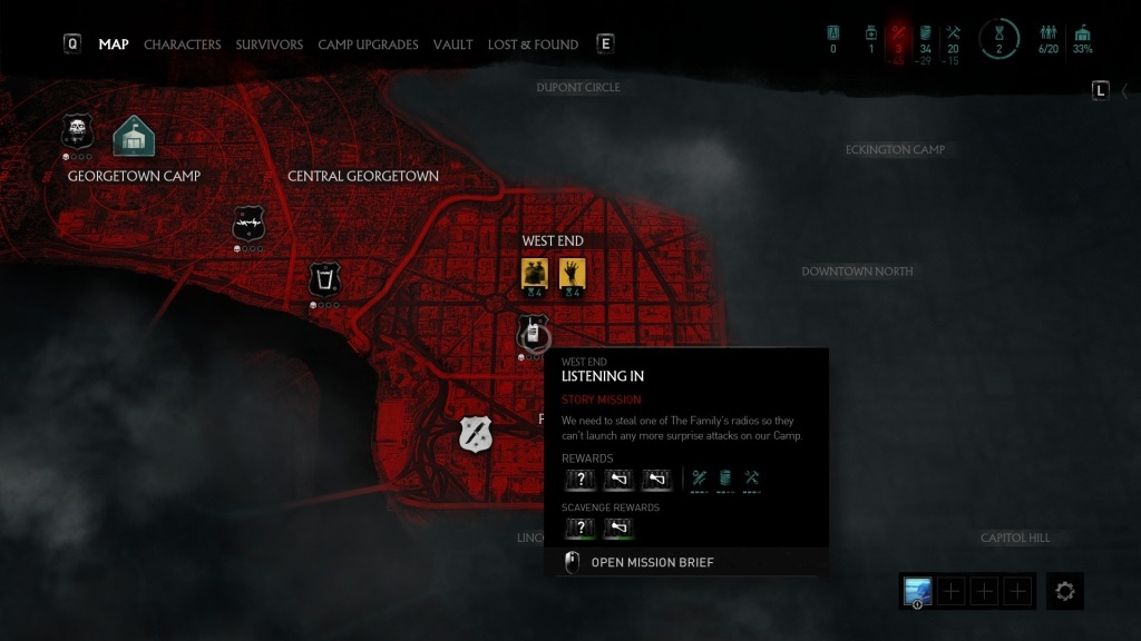 Overkill's The Walking Dead; gameplay: oblasti