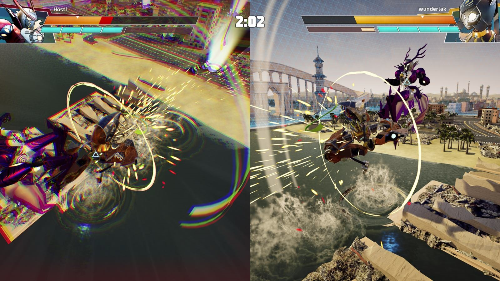 Override: Mech City Brawl; gameplay: split