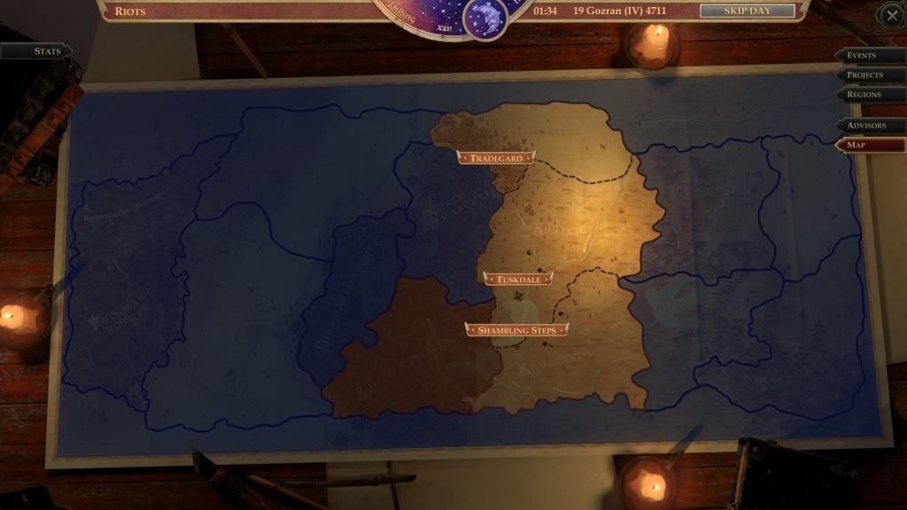 Pathfinder: Kingmaker; gameplay: mapa