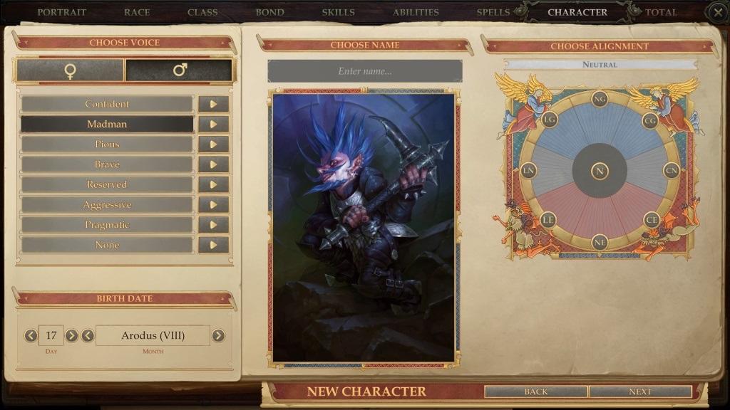 Pathfinder: Kingmaker; gameplay: povaha