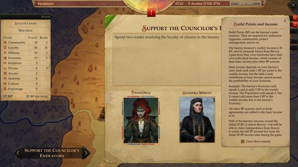 Pathfinder: Kingmaker; gameplay: rádkyně