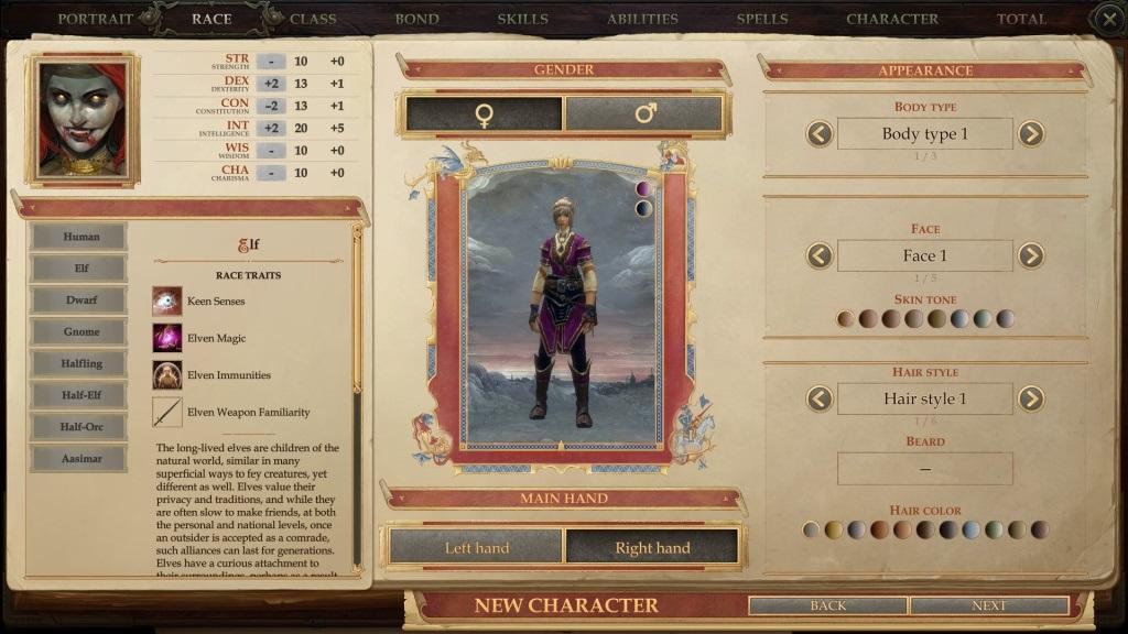 Pathfinder: Kingmaker; gameplay: rasa