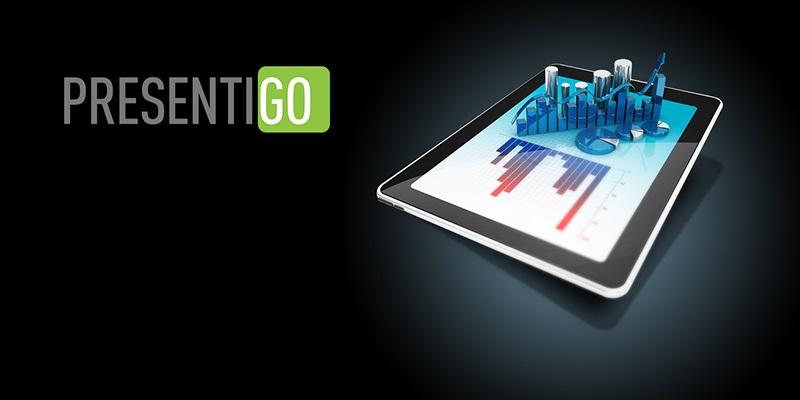 presentigo logo, tablet, 3D