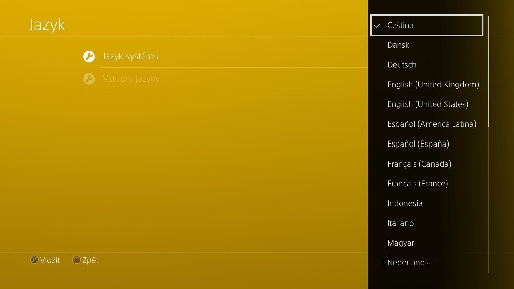 PS4 Update 5.0; volba jazyka: čeština