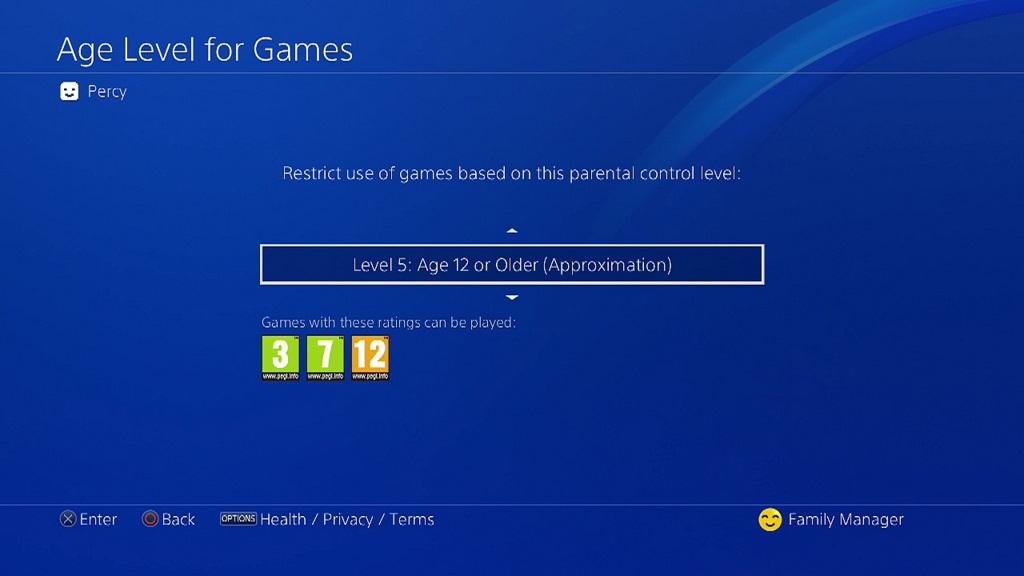 PS4 Update; Nastavení věkového limitu