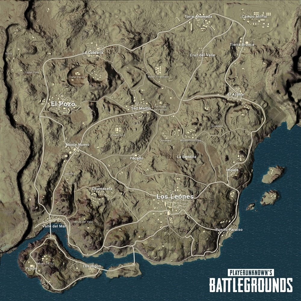 PlayerUnknown's Battlegrounds; miramar, mapa