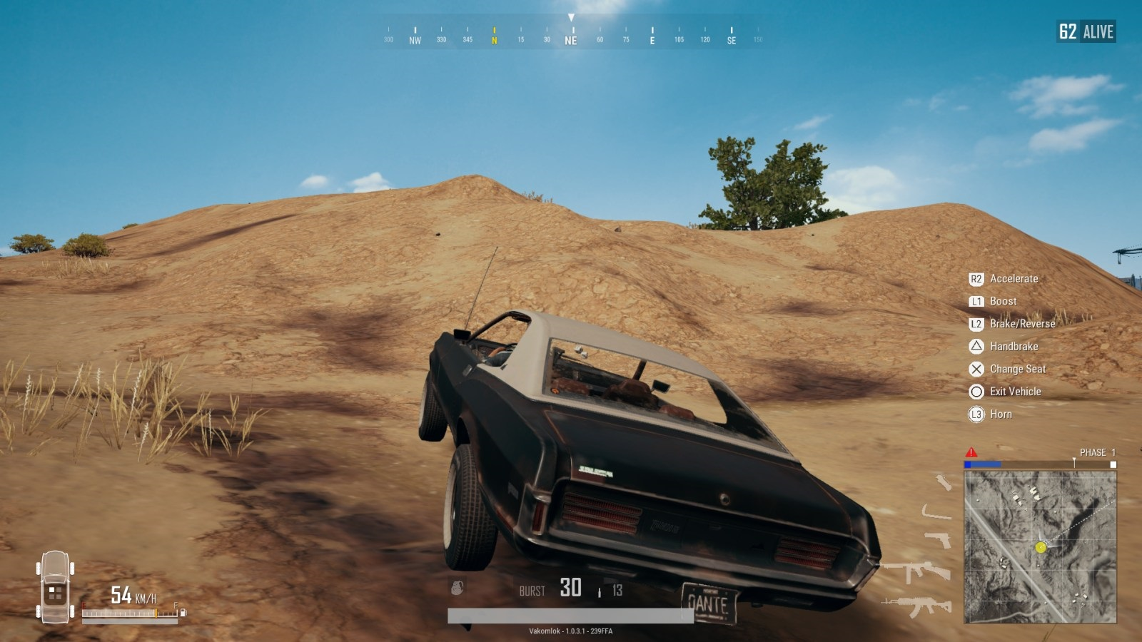 Player Unknown's Battlegrounds; gameplay: muscle car