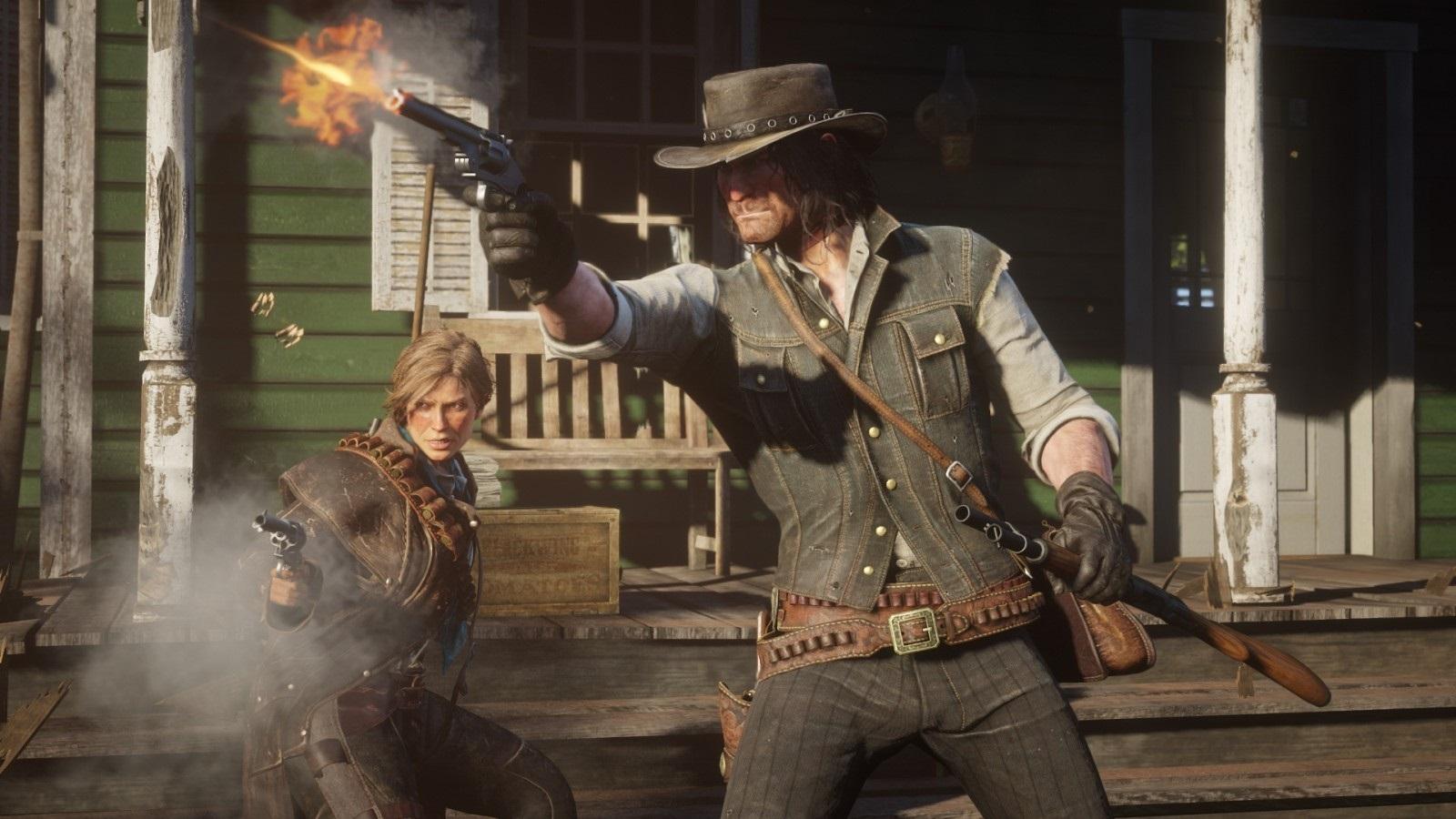 Red Dead Redemption 2; screenshot: gunshot