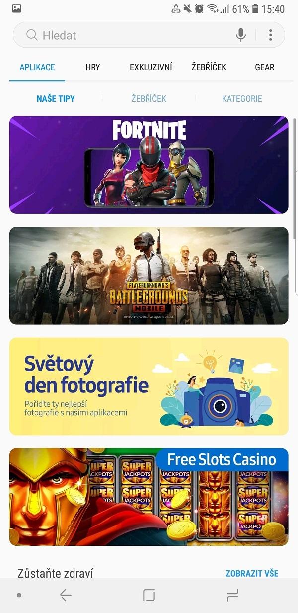 Samsung Galaxy Note9; recenze; aplikace
