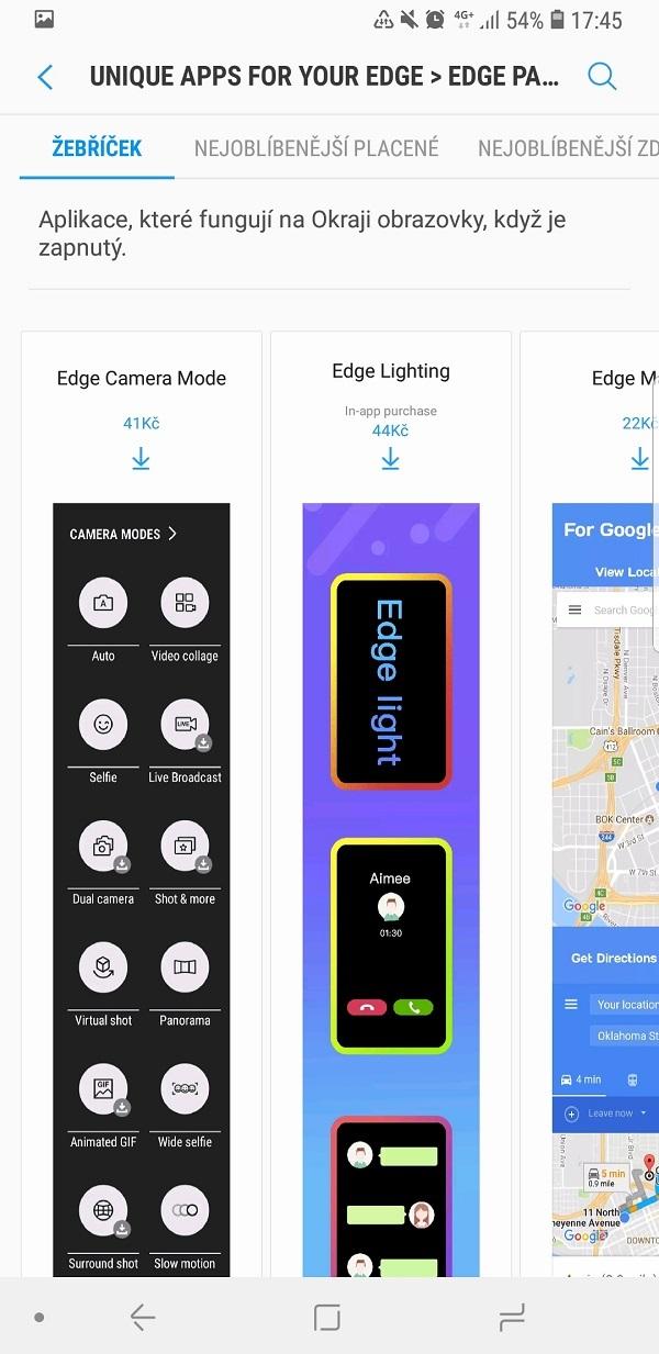 Samsung Galaxy Note9; recenze; aplikace na okraji