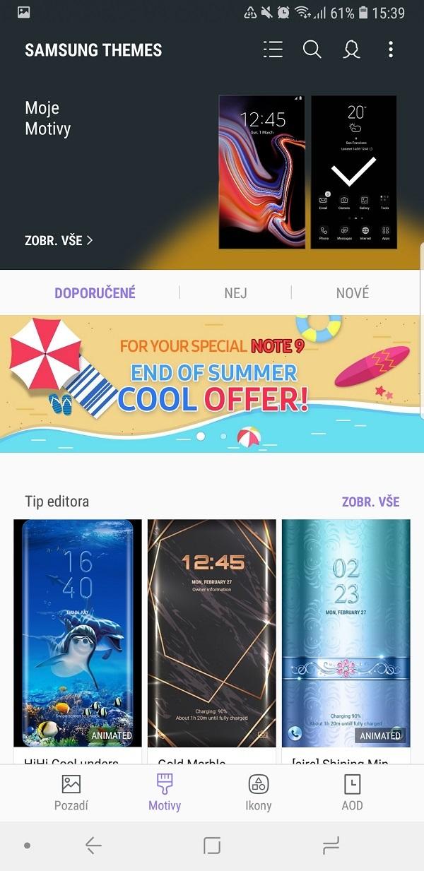 Samsung Galaxy Note9; recenze; moje motivy